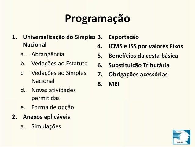 Programação  1. Universalização do Simples  Nacional  a. Abrangência  b. Vedações ao Estatuto  c. Vedações ao Simples  Nac...