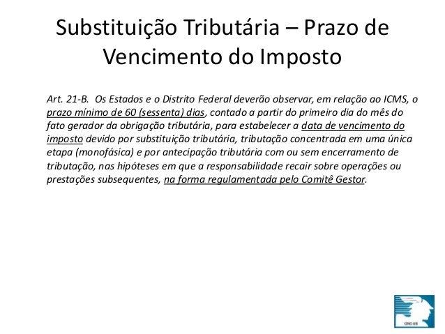 Substituição Tributária – Prazo de  Vencimento do Imposto  Art. 21-B. Os Estados e o Distrito Federal deverão observar, em...