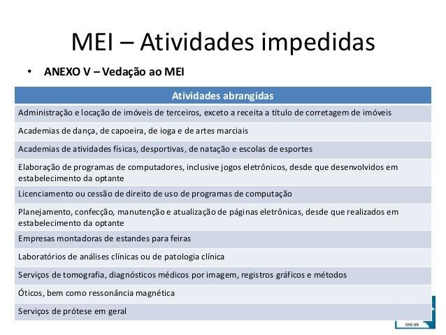 MEI – Atividades impedidas  • ANEXO V – Vedação ao MEI  Atividades abrangidas  Administração e locação de imóveis de terce...