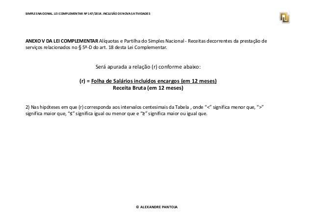 SIMPLES NACIONAL. LEI COMPLEMENTAR Nº 147/2014. INCLUSÃO DE NOVAS ATIVIDADES  ANEXO V DA LEI COMPLEMENTAR Alíquotas e Part...