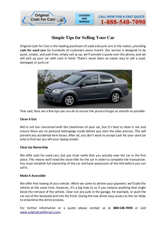 Simple tips for selling your car