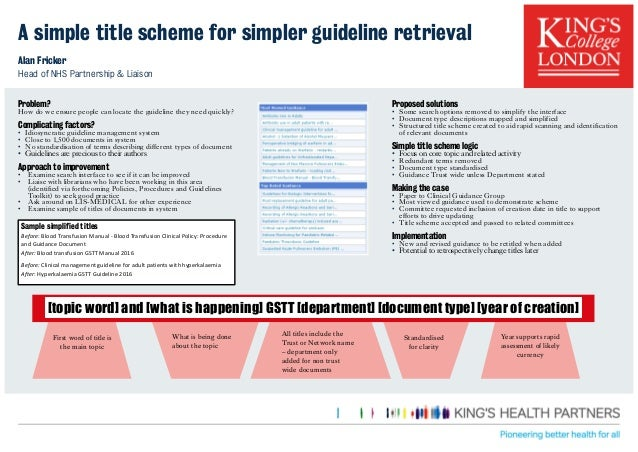 A simple title scheme for simpler guideline retrieval Alan Fricker Head of NHS Partnership & Liaison Proposed solutions • ...