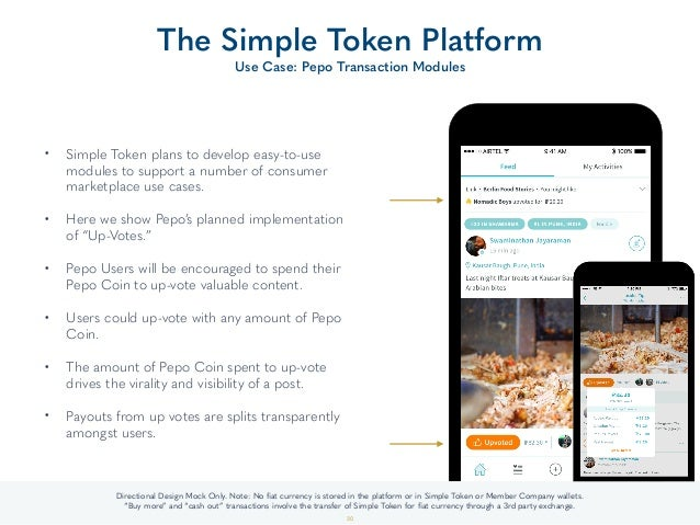 • Simple Token plans to develop easy-to-use modules to support a number of consumer marketplace use cases. • Here we show...
