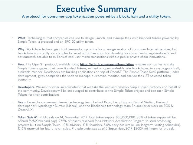 Executive Summary A protocol for consumer-app tokenization powered by a blockchain and a utility token. • What. Technologi...