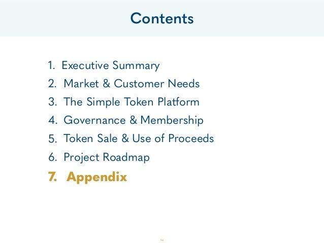 Contents 1. Executive Summary 2. Market & Customer Needs 3. The Simple Token Platform 4. Governance & Membership 5. Token ...