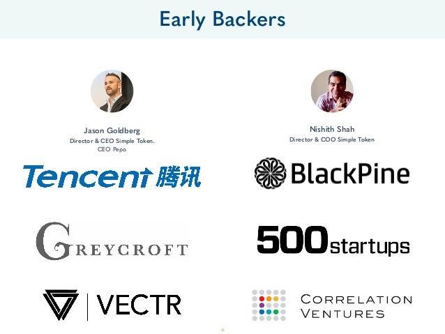 Jason Goldberg Director & CEO Simple Token. CEO Pepo Nishith Shah Director & COO Simple Token Early Backers 55