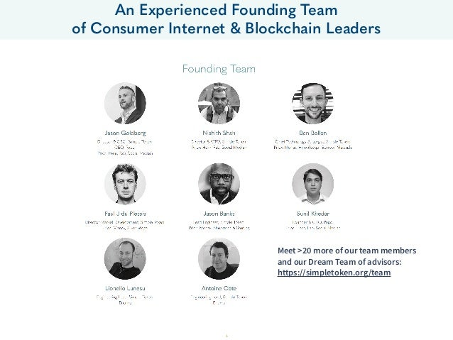 An Experienced Founding Team of Consumer Internet & Blockchain Leaders 6 Meet >20 more of our team members and our Dream T...