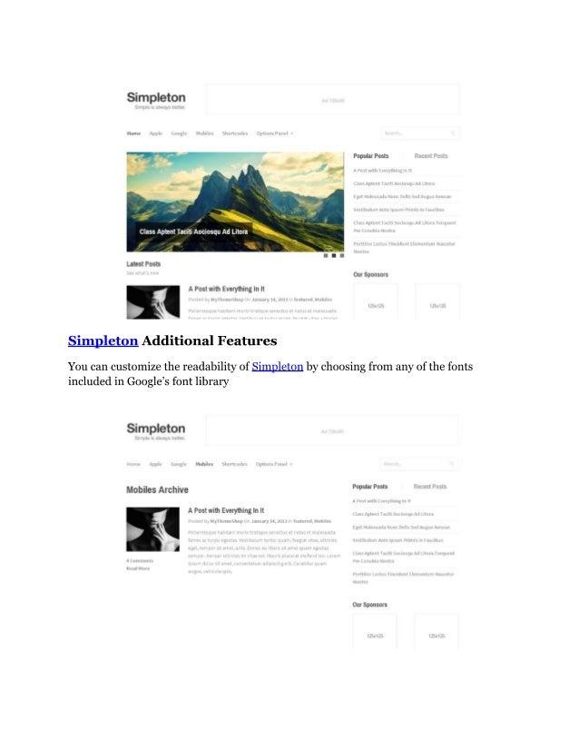 Simpleton   lightweight & minimalist wordpress theme