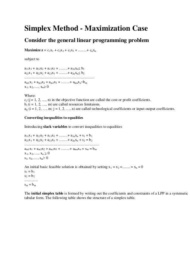 Simplex method - Maximisation Case