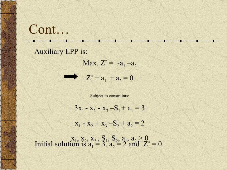 Cont… Max. Z *  =  -a 1  –a 2 Z *  + a 1  + a 2  = 0 Subject to constraints: 3x 1  - x 2  - x 3  –S 1  + a 1  =  3 x 1  - ...