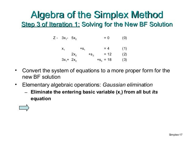 simplex method An example of two phase simplex method advol @mcmaster, february 2, 2009 consider the following lp problem max z = 2x1 +3x2 +x3.