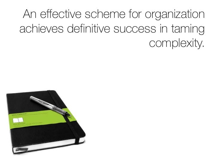 An effective scheme for organization achieves definitive success in taming                           complexity.          ...