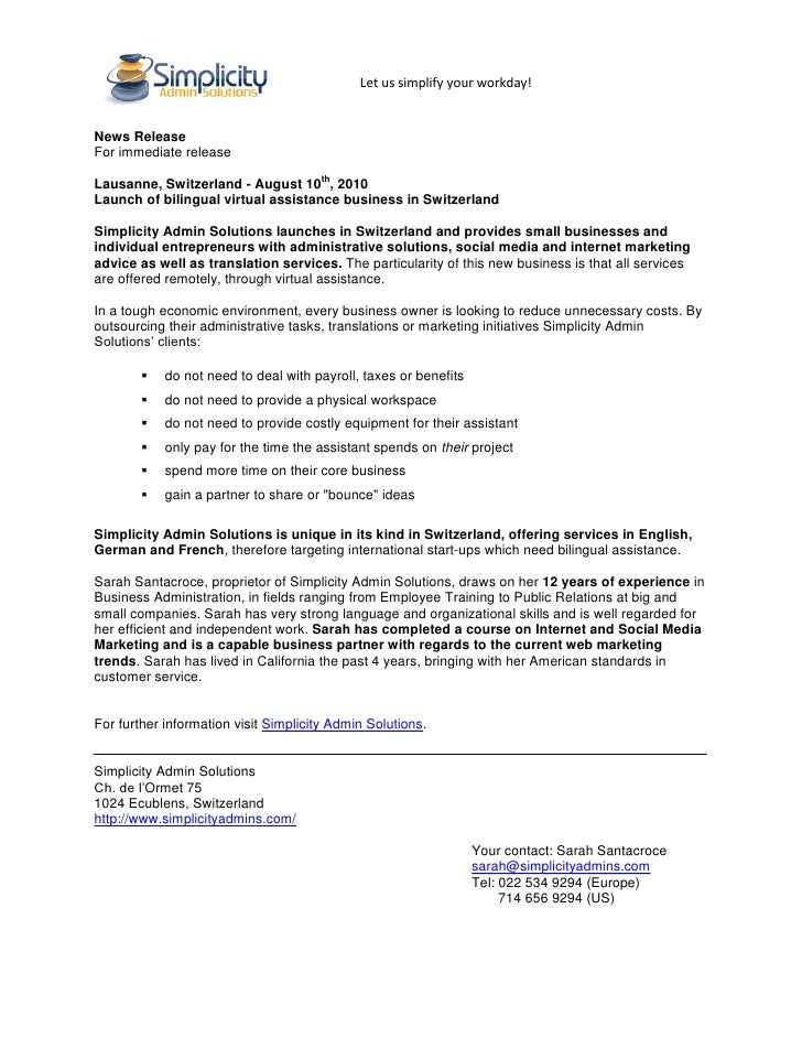Let us simplify your workday!   News Release For immediate release  Lausanne, Switzerland - August 10th, 2010 Launch of bi...
