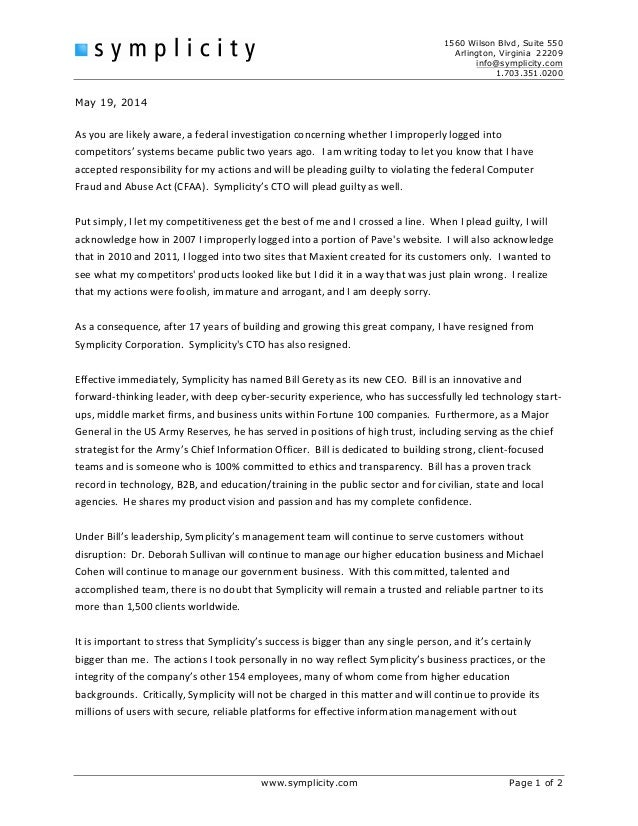 ceo resignation letter