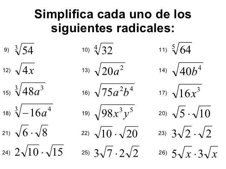 Simplificar Radicales