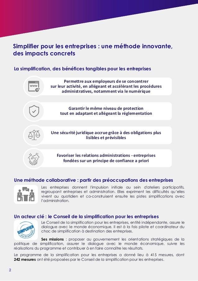 La simplification au service de la compétitivité des entreprises Slide 2