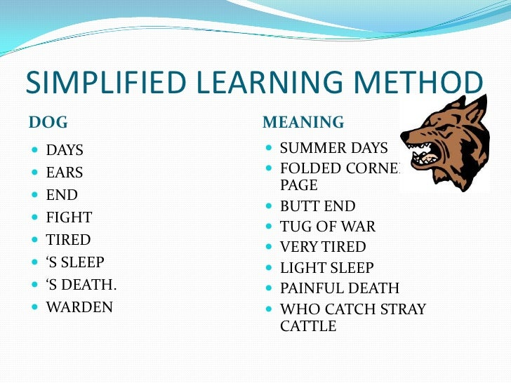 Simplified methods of learning english