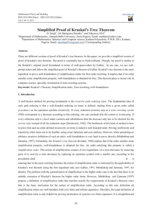 Mathematical Theory and Modeling ISSN 2224-5804 (Paper) ISSN 2225-0522 (Online) Vol.3, No.13, 2013  www.iiste.org  Simplif...