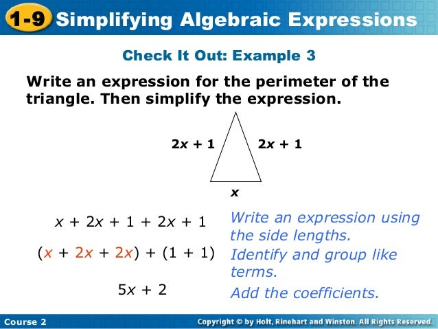 Writing Algebraic Expressions to Solve Perimeter Problems