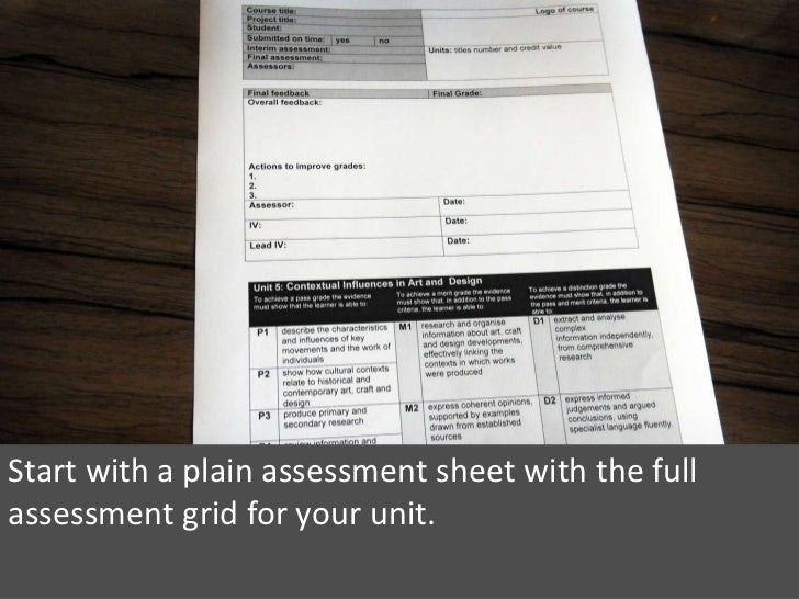 Start with a plain assessment sheet with the full assessment grid for your unit.<br />