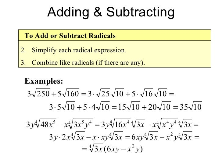 Simplifying radical expressions rational exponents radical equations – Adding and Subtracting Algebraic Expressions Worksheet
