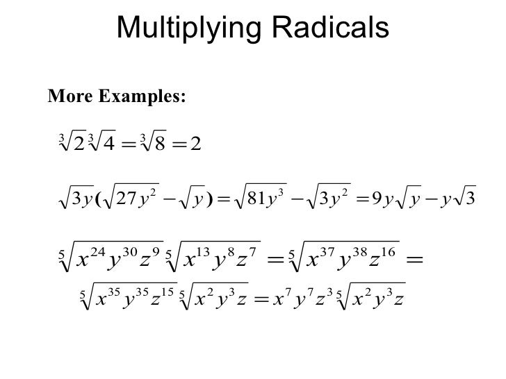 multiplying radical expressions worksheet Termolak – Multiplication of Radicals Worksheet