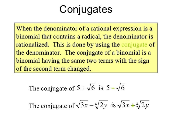 Simplifying radical expressions rational exponents radical equations 17 conjugates when the denominator ccuart Gallery
