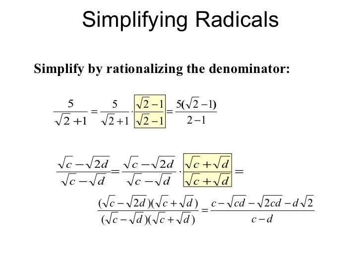 simplifying radical expressions Exponent and radical rules radicals warm up simplify the following square root and cube example four adding and subtracting radical expressions a) b.