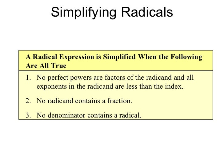 Simplifying radical expressions rational exponents radical equations simplifying radicals simplify by rationalizing the denominator 19 ccuart Gallery