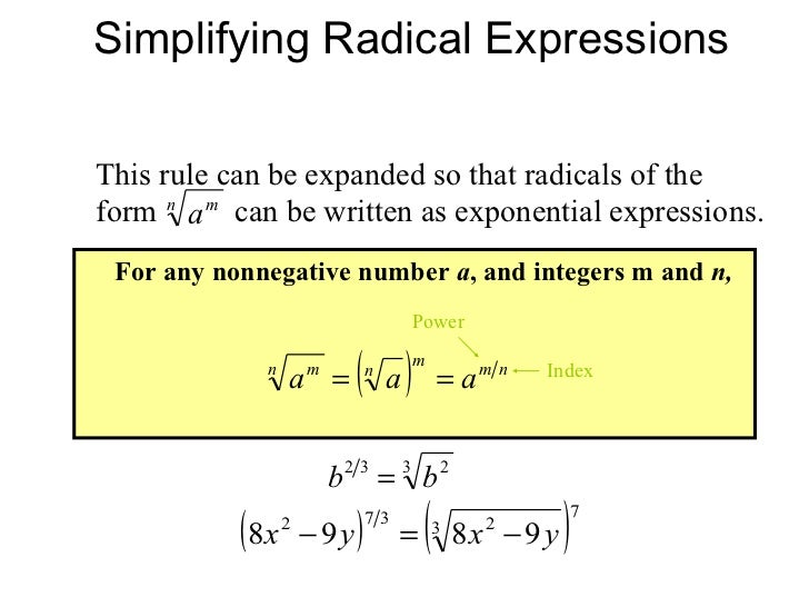 Simplifying radical expressions, rational exponents, radical equations