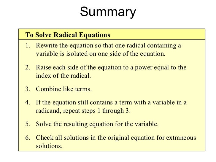 Simplifying radical expressions rational exponents radical equations – Solving Radical Equations Worksheet