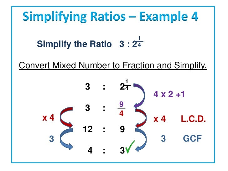how to simplify ratios with fractions and whole numbers