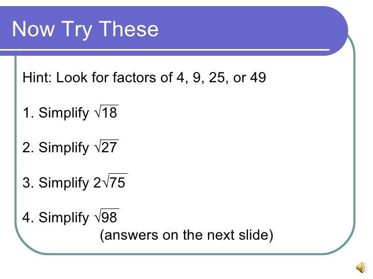 Simplifying Square Root Radicals