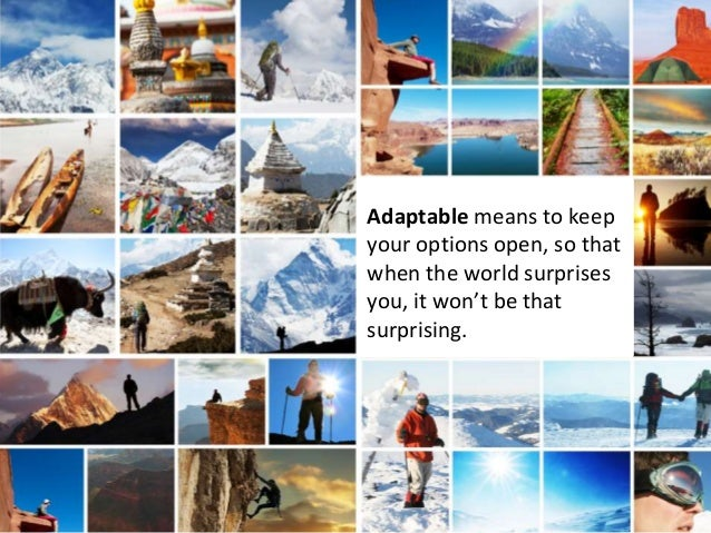 Adaptable means to keep your options open, so that when the world surprises you, it won't be that surprising.