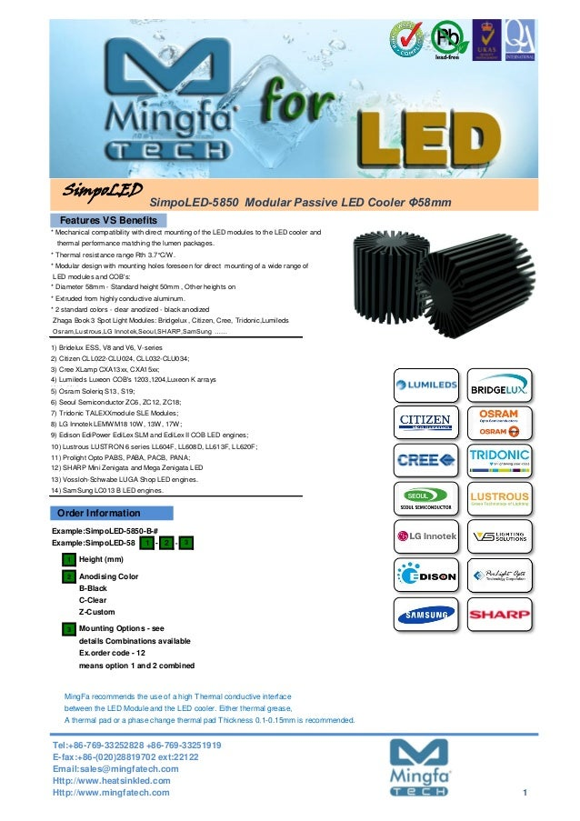 - - 1 2 Anodising Color 3 means option 1 and 2 combined SimpoLED SimpoLED-5850 Modular Passive LED Cooler Φ58mm MingFa rec...
