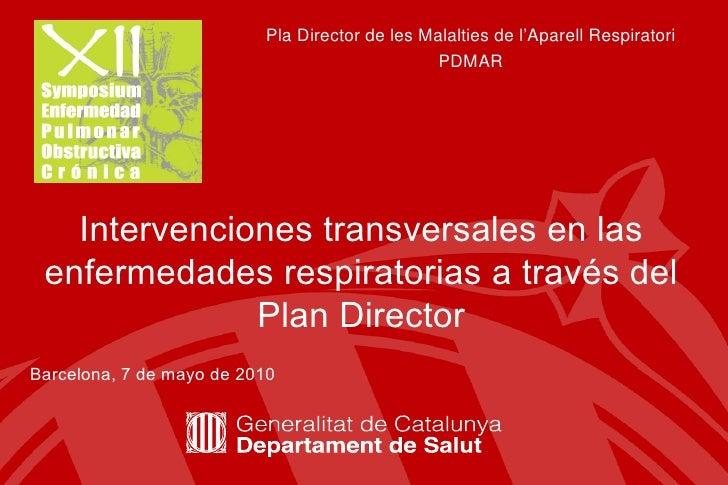Pla Director de les Malalties de l'Aparell Respiratori PDMAR Intervenciones transversales en las enfermedades respiratoria...