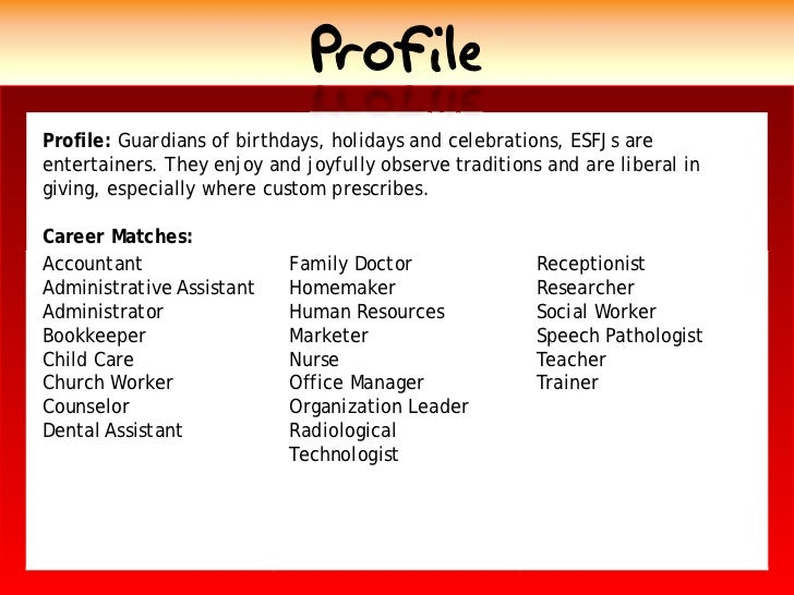 Profile Profile: Guardians of birthdays, holidays and celebrations, ESFJs are entertainers. They enjoy and joyfully observ...