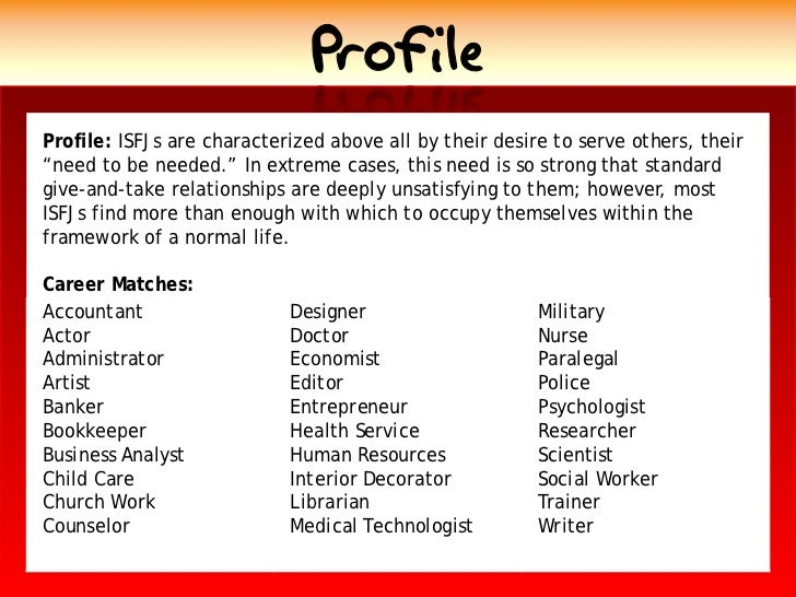 """Profile Profile: ISFJs are characterized above all by their desire to serve others, their """"need to be needed."""" In extreme ..."""
