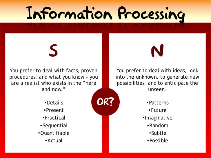 Information Processing                                                            N                 S You prefer to deal w...