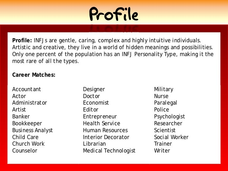 Profile Profile: INFJs are gentle, caring, complex and highly intuitive individuals. Artistic and creative, they live in a...