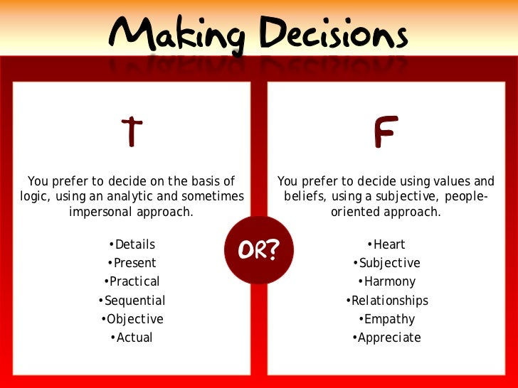 Making Decisions                                                           F                  T   You prefer to decide on ...