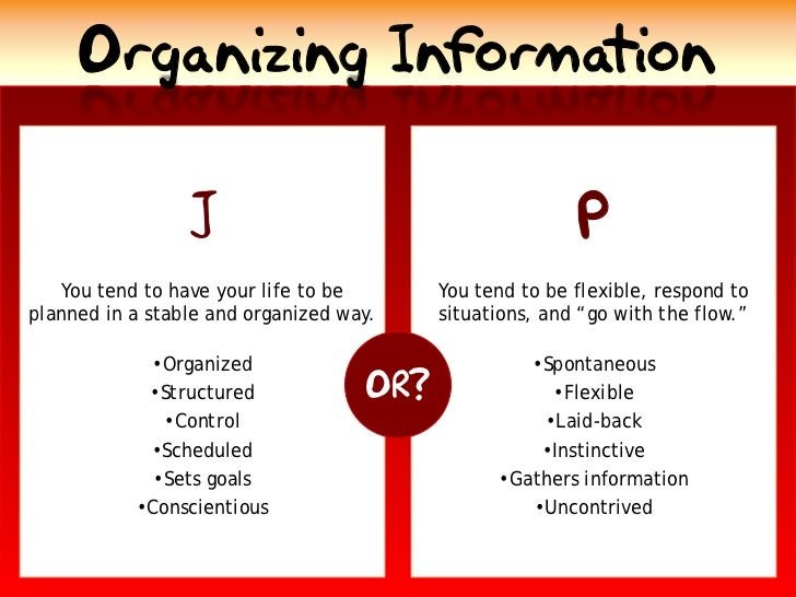 Organizing Information                                                           P                  J    You tend to have ...