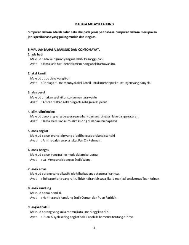 Simpulan Bahasa Tahun 3