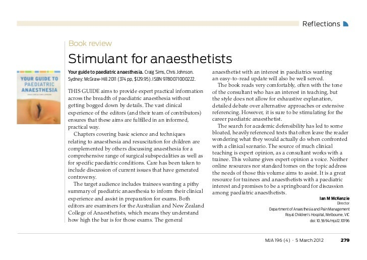 ReflectionsBook reviewStimulant for anaesthetistsYour guide to paediatric anaesthesia. Craig Sims, Chris Johnson.   anaest...