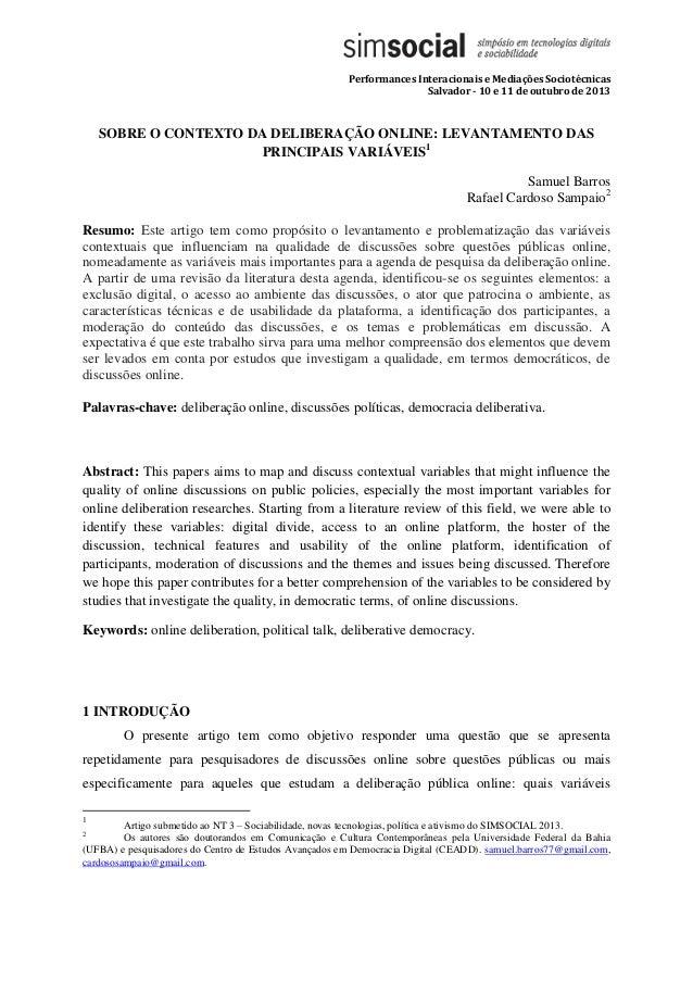 Performances Interacionais e Mediações Sociotécnicas Salvador - 10 e 11 de outubro de 2013 SOBRE O CONTEXTO DA DELIBERAÇÃO...