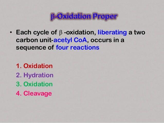 1.Oxidation • Acyl CoA undergoes dehydrogenation by an FAD-dependent flavoenzyme, acyl CoA dehydrogenase. • A double bond ...