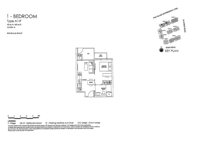 I — BEDROOM  Type AI -P 43 sq m/  463 sq ft TOWER 10  #01333 and #04-37     N sums DRIVE  @ KEY PLAN     D 1 2 3 4 SM —-—i...