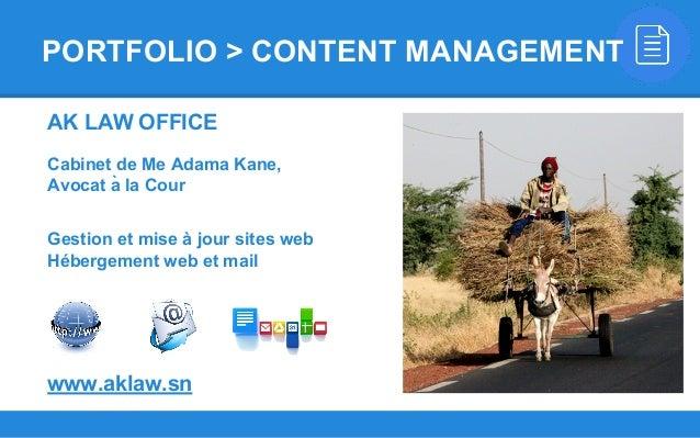 AK LAW OFFICE Cabinet de Me Adama Kane, Avocat à la Cour Gestion et mise à jour sites web Hébergement web et mail www.akl...