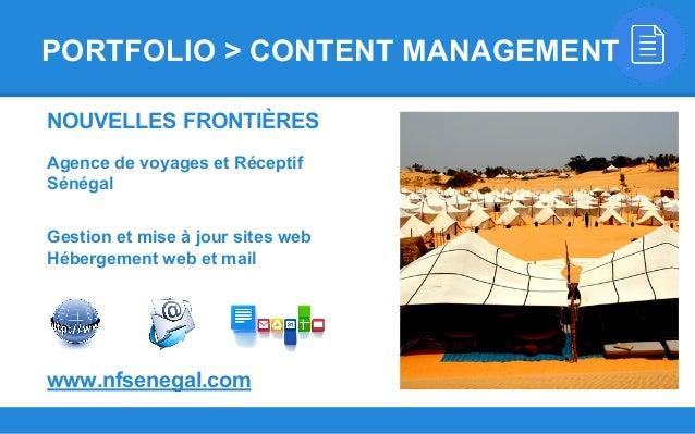 NOUVELLES FRONTIÈRES Agence de voyages et Réceptif Sénégal Gestion et mise à jour sites web Hébergement web et mail www.nf...