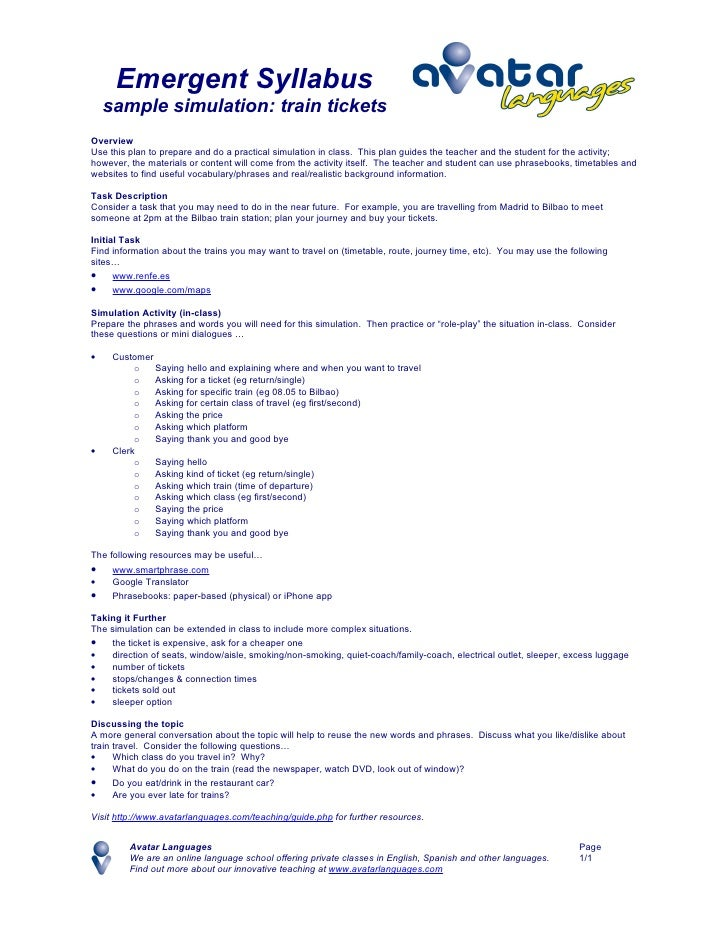 Emergent Syllabus     sample simulation: train tickets Overview Use this plan to prepare and do a practical simulation in ...